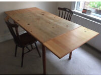 Wooden extendable dining table & 2 x chairs