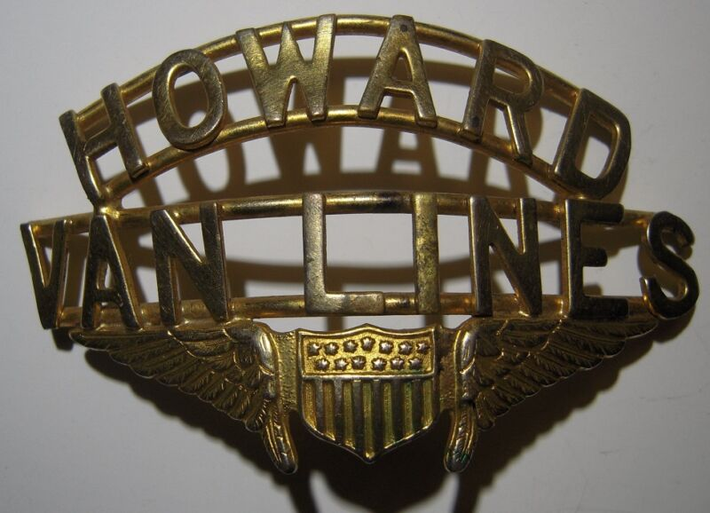 "1940s ""Howard Van Lines"" Winged Hsat Badge - Global Van Lines"