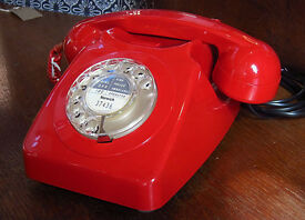 LOVELY OLD GPO ISSUE 1970s COLLECTABLE TELEPHONE IN RED, RESTORED & READY TO PLUG & GO! vintage old