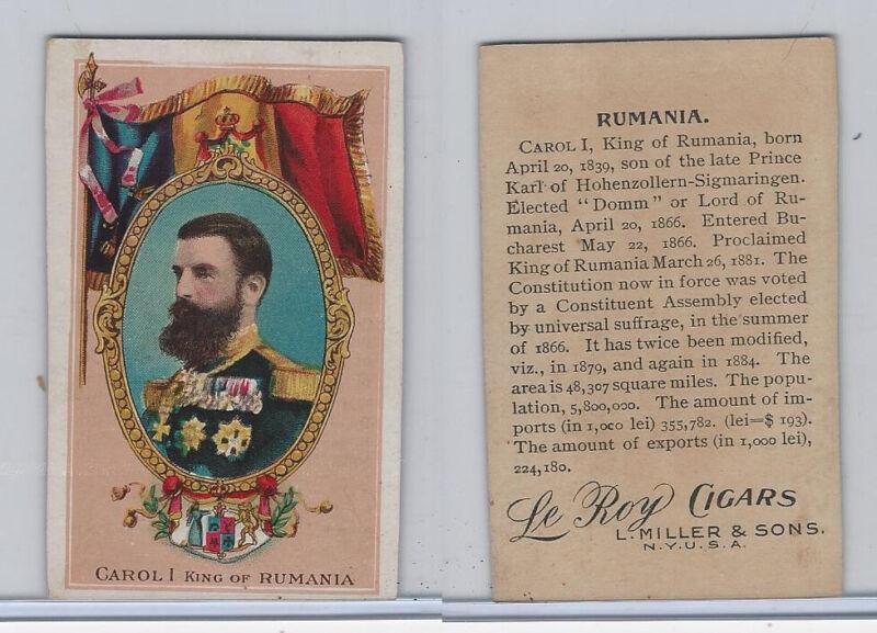 T98 LeRoy Cigars, Rulers of the World, 1900 Flag, Rumania, King Carol I