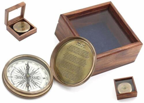 "3"" Robert Frost Poem Nautical Antique Compass Glass Top Hardwood Box"