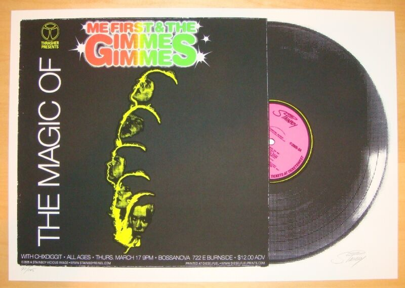 2005 Me First & the Gimme Gimmes - Silkscreen Concert Poster by Stainboy s/n