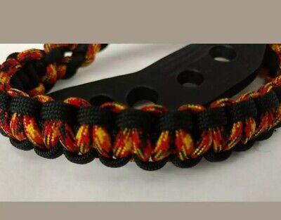 Paracord Bow Wrist Sling  BLACKOUT  w//7 hole Leather Yoke