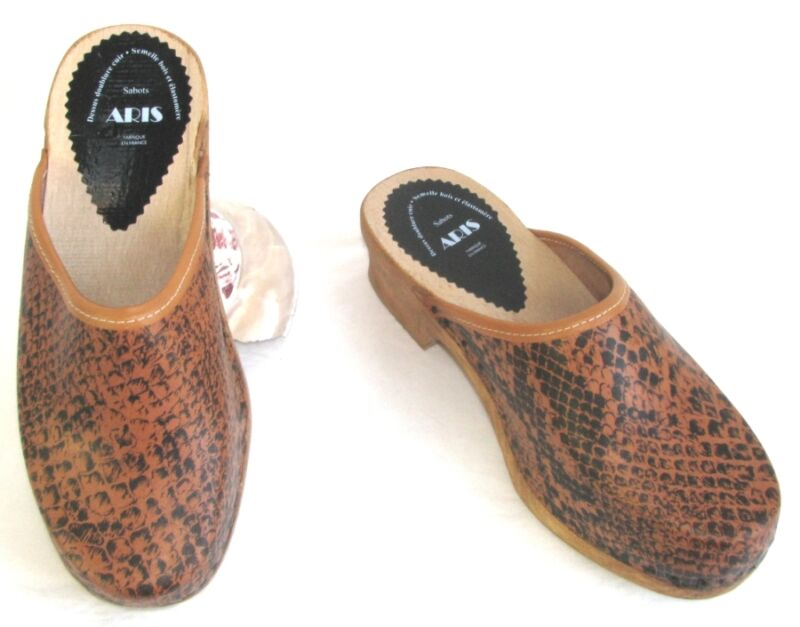 ARIS - CLOGS HOMEMADE LEATHER printed BLACK & FAUVE 38 - NEW