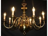 VINTAGE FLEMISH BRASS CHANDELIER 8 arm CEILING LIGHT - Ref: GAG10