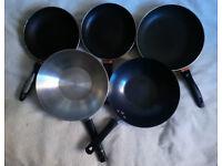 Set of 3 pans + 2 woks