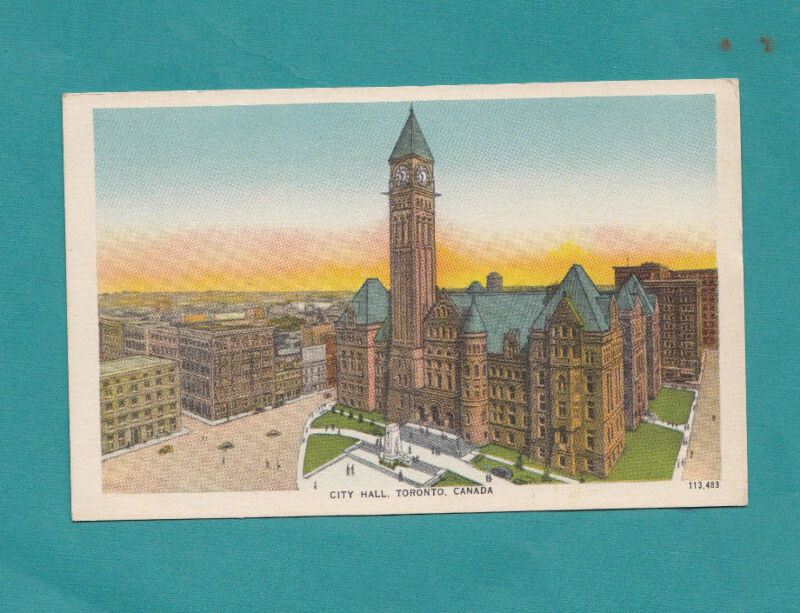 City Hall Toronto Canada Vintage Postcard Post Card color Antique Clock Tower