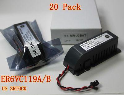 20pcs Mr-j3bat 3.6v Mitsubishi Er6vc119ab Plc Battery For Melservo M70 Wplug