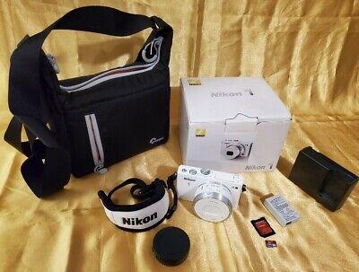 Nikon 1 J4 18.4MP SLR Camera White +10-30mm Nikkor Lens + Bag + MicroSD US Model