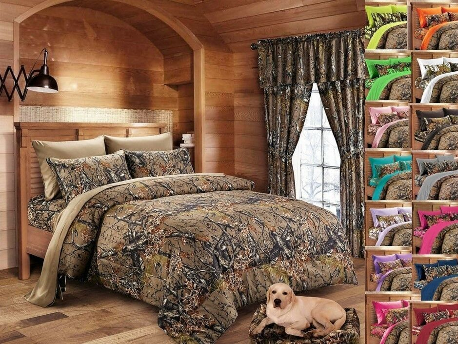 MIXED SIZE 27 PC BROWN CAMO QUEEN SHEETS KING COMFORTER /& 4 CURTAIN SETS!!
