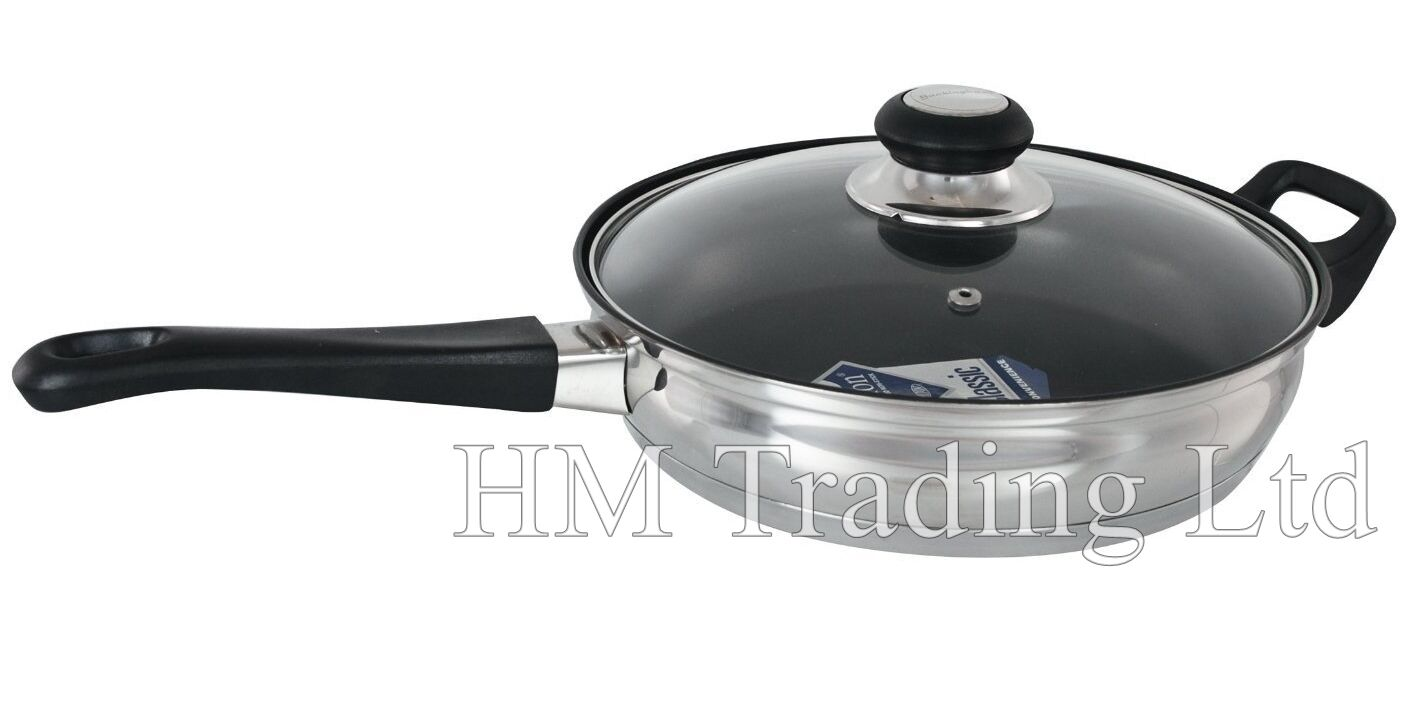 teflon non stick induction deep saute fry frying pan 24 cm 2 7l with glass lid. Black Bedroom Furniture Sets. Home Design Ideas