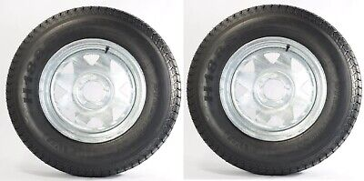 2-Pk Trailer Tire On Rim ST205/75D14 2057514 F78-14 5 Lug Spoke Wheel Galvanized