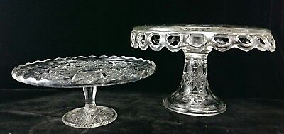 LACE EDGE CAKE PLATTER w Rum Well Vintage Art Glass Pedestal Lot 2 Two Pair