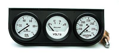 "Auto Meter Autogage Oil /Volt /Water Trio WHITE Gauge with BLACK Console 2-1/16"""