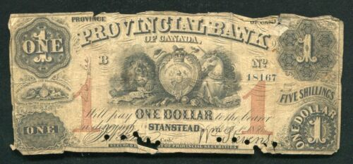 1856 $1 THE PROVINCIAL BANK OF CANADA STANSTEAD QUEBEC CHARTERED OBSOLETE
