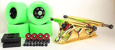 90mm 78a Neon Green Longboard Wheels and Gold Reverse Kingpin Truck Combo Set