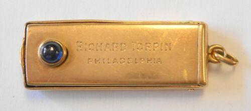 Vintage 35mm Cigar Cutter 14K Yellow Gold Blue Sapphire Pendant Watch Fob Heavy