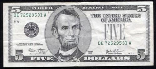 "2003 $5 FRN FEDERAL RESERVE NOTE ""MISSING TREASURY SEAL ERROR"""