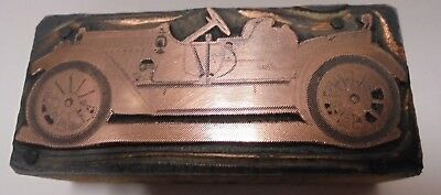 Vintage Letterpress Printing Block Cut Antique Old Car Convertible