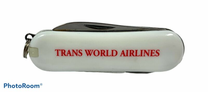 TWA Trans World Airlines Vintage Pocket Knife Multi Tool Stainless Steel Logo