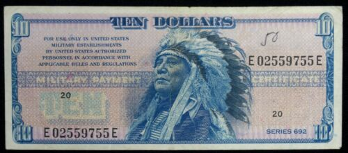 US MPC $10 Series 692 VERY RARE Issue Ch. Very Fine Problem Free