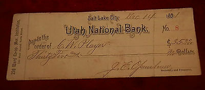1891 Salt Lake City Utah State National Bank  Check No 8 J E Openshaw