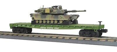 O-Gauge - MTH - U.S. Army Flat Car w/(1) M1A Sbrams Tanks