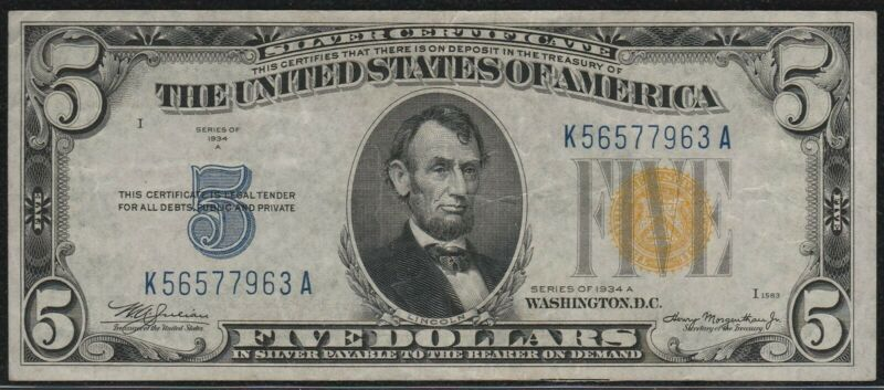 """1934-A $5 Small Silver Certificate *North Africa* """"VF+""""*Free S/H After 1st Item*"""