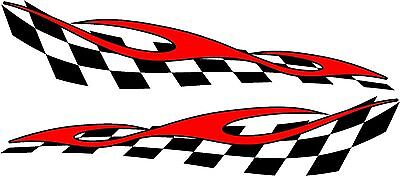 checkered flag & flame racing vinyl graphics decal sticker set 11