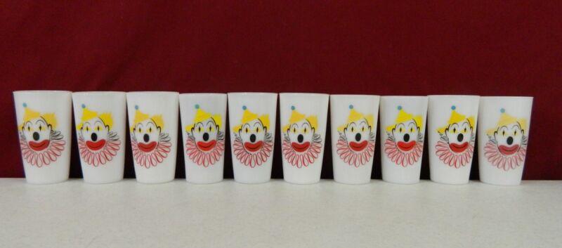Hazel Atlas Clown Glass Set Of  10