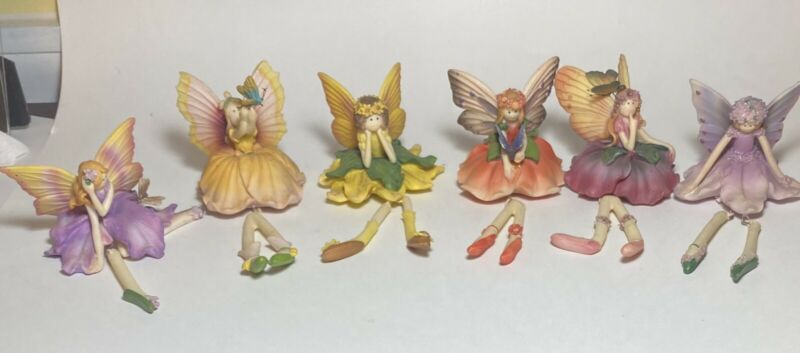 6 Floral Flower Fairy Shelf Sitters with Dangling Ballerina Legs Wings Butterfly