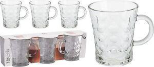 Set of 3 Dimpled Glass Coffee Mugs Cup Tea Chocolate Mocha Latte Macchiato 280ml