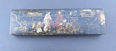 Antique/Vintage Lacquered Pencil / Paint Brush Box with Japanese Decoration