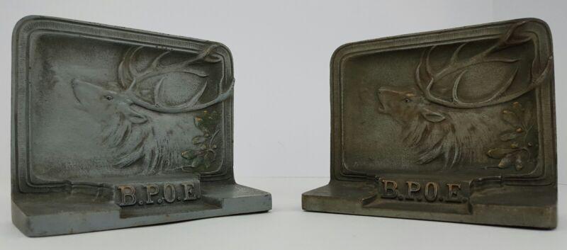 Antique Bradley and Hubbard BPOE Elks Lodge Fraternal Order Cast Iron Book Ends