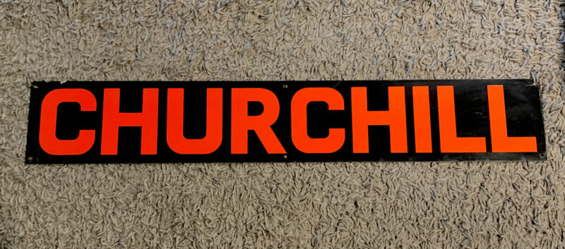 """VINTAGE PAINTED METAL CHURCHILL OIL PUMP JACK SIGN DRILLING RIG OILFIELD 36""""x6"""""""