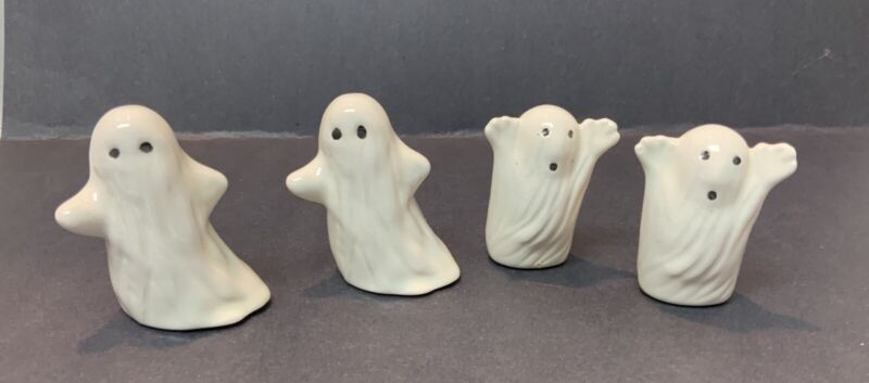 "Vintage Halloween Ceramic Handmade Ghosts 3"" Lot Of 4"