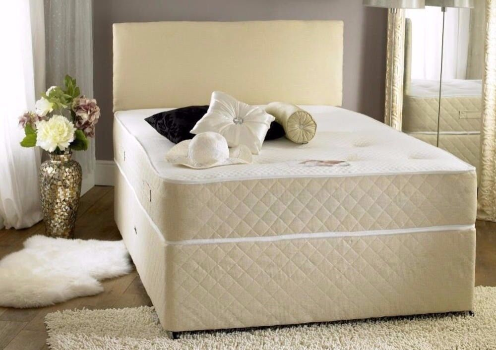 🔥💥Black /White🔥💥 Brand New Double/King Divan Bed W/ Dual-Sided 13inch Super Orthopaedic Mattress