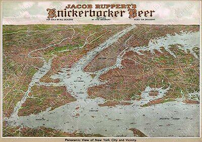 VINTAGE PANORAMIC 1912 KNICKERBOCKER BEER NEW YORK CITY BIRD'S EYE VIEW WALL MAP