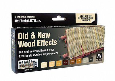 Old And New Weathered Wood  8 Airbrush Paints For Model   Hobby  Vallejo 71187
