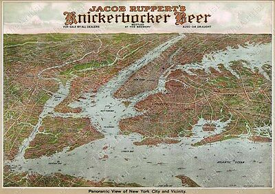 GIANT HISTORICAL 1912 KNICKERBOCKER BEER NEW YORK CITY  BIRD'S EYE VIEW WALL MAP