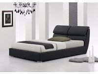 LIBRETTO 5FT KING SIZE MODERN LEATHER BED + LUXURY MEMORY FOAM MATTRESS