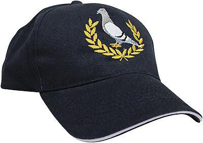 Berretto da Baseball Cappello tappo nero PICCIONE da corsa RICAMO GRIGIO alloro