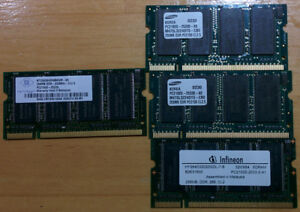 DDR PC2100 and PC2700 256MB SODIMM laptop memory / RAM