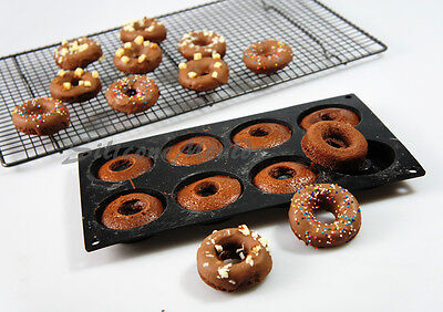 8 cell MINI DOUGHNUT RING DONUT Round Indent SILICONE BAKEWARE CAKE MOULD Pan