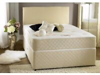BLACK WHITE OR GREY FABRIC DIVAN BEDS! NEW DOUBLE DIVAN BED WITH 1000 POCKET SPRUNG MATTRESS