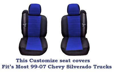 New Black/Blue Mesh Custom seat covers Fit's 1999~2006 Chevy Silverado Truck's Custom Chevy Truck Seats