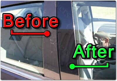 BLACK Pillar Posts for Audi 100 91-94 C4 2pc Set Door Cover Piano Window Trim