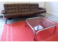 Retro / vintage chrome sofa & coffee table