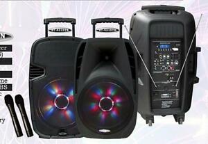 4315TN 15 1000 WATT PORTABLE RECHARGEABLE PA DJ PARTY SPEAKER W/ 2 BUILT-IN DUAL VHF WIRELESS MICROPHONES AND LED