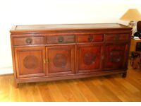 Oriental solid Rosewood carved sideboard & brass handles. Really nice condition.